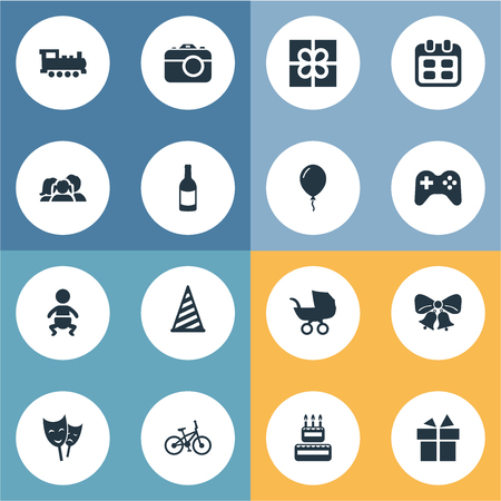 Vector Illustration Set Of Simple Holiday Icons.