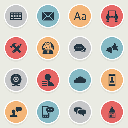 Vector Illustration Set Of Simple User Icons. Elements Gazette, E-Letter, Overcast And Other Synonyms Sky, Notepad And Cedilla. Çizim