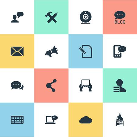 Vectorillustratiereeks Eenvoudige Krantenpictogrammen. Elementen toetsenblok, site, document en ander synoniemen-toetsenbord, onderhandeling en bericht.
