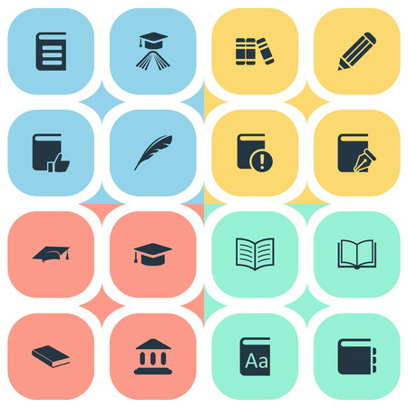 Vector Illustration Set Of Simple Reading Icons. Elements Plume, Notebook, Library And Other Synonyms School, Quill And Cap. Illustration