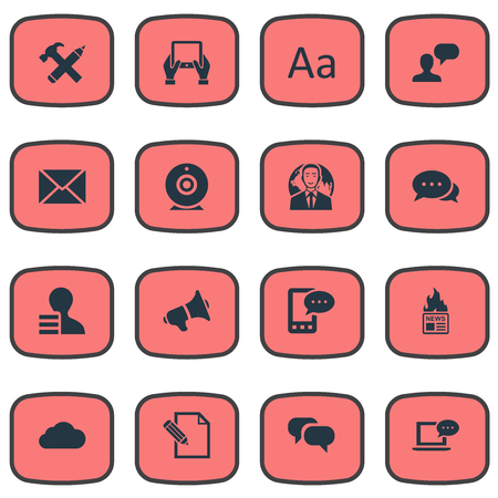 envelope: Vector Illustration Set Of Simple Blogging Icons. Elements Man Considering, Overcast, Post And Other Synonyms Notepad, Repair And Debate.