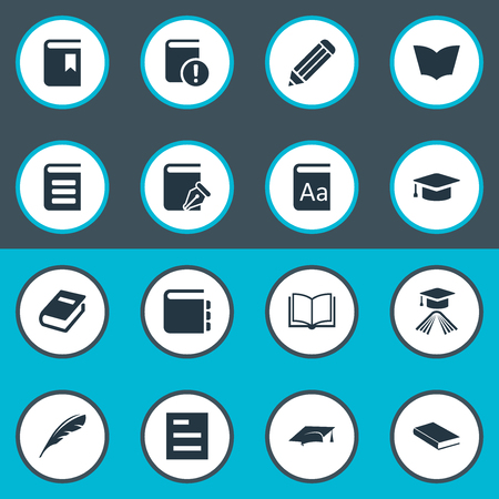 Vector Illustration Set Of Simple Education Icons. Elements Reading, Sketchbook, Pen And Other Synonyms Bookmark, Blank And Pen. Ilustração
