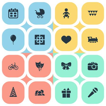 벡터 일러스트 레이 션 간단한 축 하 아이콘의 집합입니다. 요소 국내, 음성, 모자 및 기타 동의어 일, 자전거 및 플래그입니다.