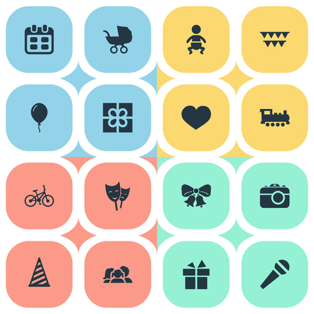 Vector Illustration Set Of Simple Celebration Icons. Elements Domestic, Speech, Cap And Other Synonyms Days, Bike And Flags. Ilustração