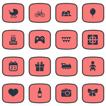 Vector Illustration Set Of Simple Celebration Icons. Elements Confectionery, Resonate, Domestic And Other Synonyms Locomotive, Confectionery And Calendar.
