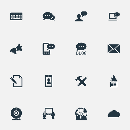 Vector Illustration Set Of Simple User Icons. Elements Site, Argument, Laptop And Other Synonyms Missive, Cloud And News.