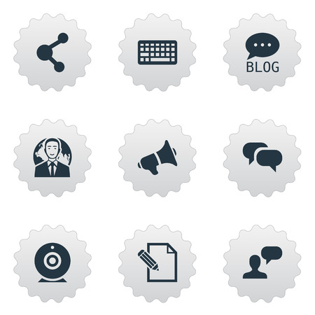 Vector Illustration Set Of Simple Blogging Icons. Elements Share, Site, Gossip And Other Synonyms Broadcast, Site And Megaphone. Illustration