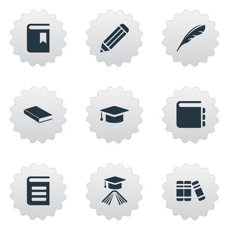 Vector Illustration Set d'icônes de connaissances simples. Cahier d'éléments, encyclopédie, étagère et autres synonymes Bookmark, livre et encyclopédie. Banque d'images - 76780021