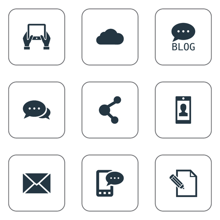 Vector Illustration Set Of Simple Blogging Icons. Elements Site, Notepad, Document And Other Synonyms Writing, Missive And Tablet.