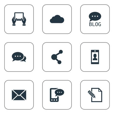 Vector illustratie Set van eenvoudige bloggen pictogrammen. Elements Site, Notepad, Document en andere synoniemen schrijven, missive en tablet. Stockfoto - 76780022
