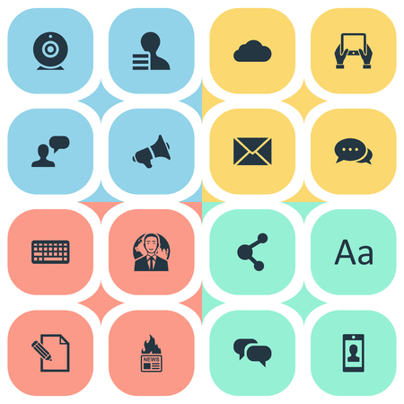 Vector Illustration Set Of Simple User Icons. Elements Post, International Businessman, Keypad And Other Synonyms Globe, Hot And Discussion.