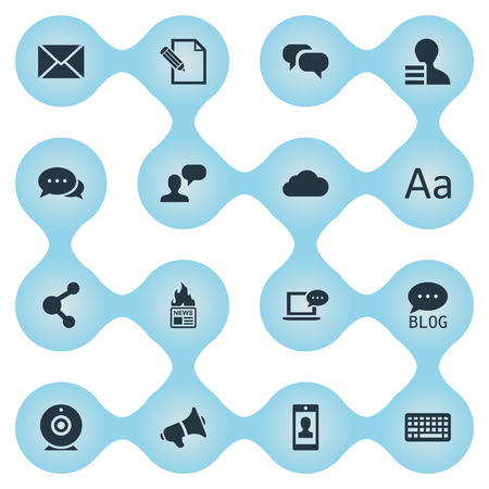 Vector Illustration Set Of Simple User Icons. Elements Loudspeaker, Gazette, Profile And Other Synonyms Site, Earnings And Speech.
