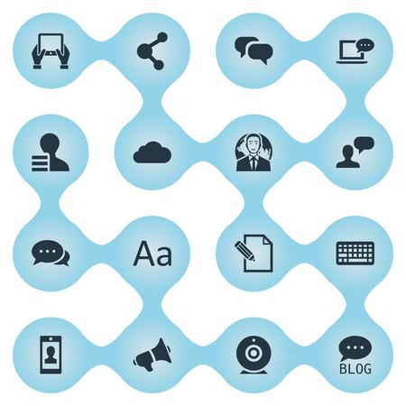 簡単なブログのアイコンのベクトル イラスト セット。要素のドキュメント、ゴシップ、引数やその他類義語メガホン議論と雲。