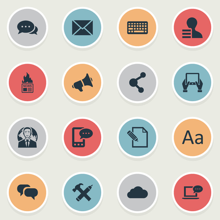 Vector Illustration Set Of Simple User Icons. Elements Document, E-Letter, Laptop And Other Synonyms Profit, Gain And Loudspeaker.