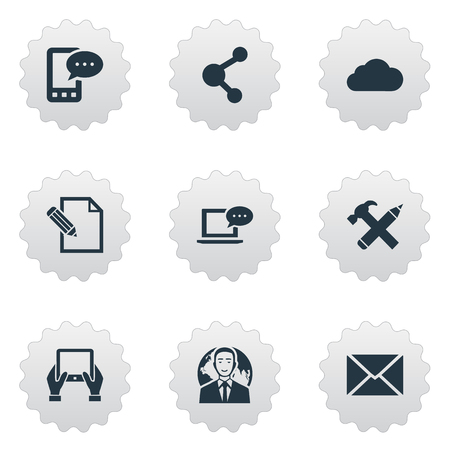 writing pad: Vector Illustration Set Of Simple User Icons. Elements Laptop, Document, Share And Other Synonyms Notepad, Phone And Hammer.