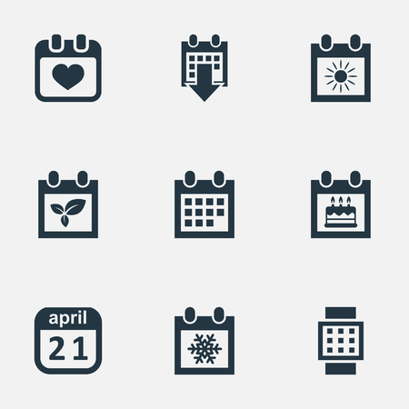 Vector Illustration Set Of Simple Calendar Icons. Elements History, Plant, Summer Calendar And Other Synonyms Agenda, Special And Smart.