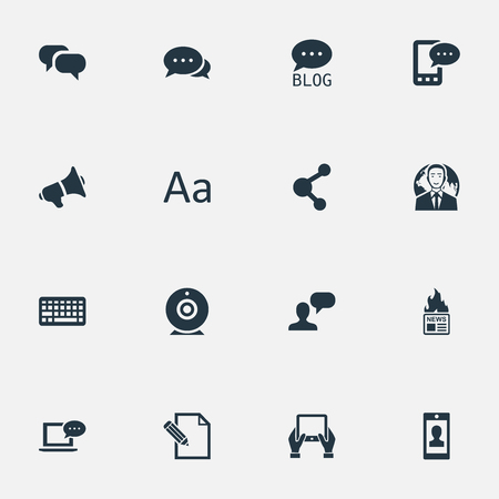 Vector Illustration Set Of Simple User Icons. Elements Document, Man Considering, Cedilla And Other Synonyms Profile, Tablet And Conversation.