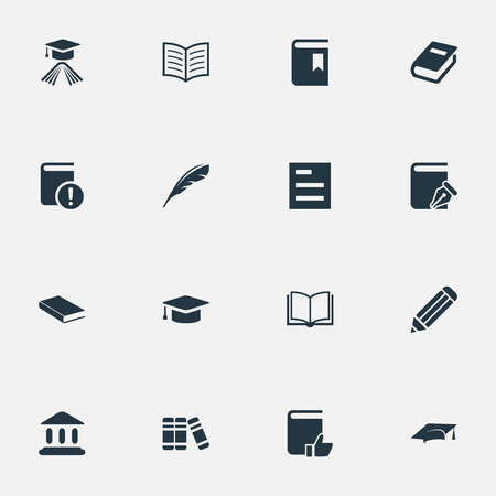 Vector Illustration Set Of Simple Books Icons. Elements Book Page, Sketchbook, Blank Notebook And Other Synonyms Book, Notebook And Building. Ilustrace