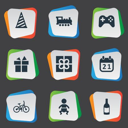 벡터 일러스트 레이 션 간단한 축 하 아이콘의 집합입니다. 요소 기차, 특별한 날, 상자 및 기타 동의어 놀이, 모자 및 모자. 일러스트