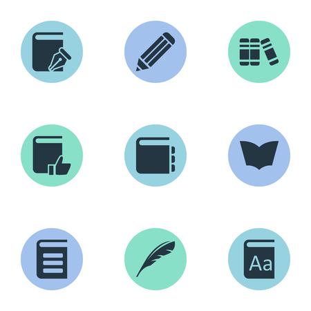 Vector Illustration Set Of Simple Education Icons. Elements Encyclopedia, Alphabet, Sketchbook And Other Synonyms Sketchbook, Alphabet And Dictionary.