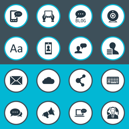 qwerty: Vector Illustration Set Of Simple User Icons. Elements Overcast, Laptop, Loudspeaker And Other Synonyms Keyboard, Network And Laptop. Illustration
