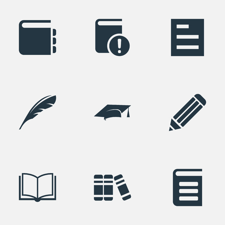 Vector Illustration Set Of Simple Reading Icons. Elements Tasklist, Journal, Pen And Other Synonyms Cap, Pen And Document. Illustration