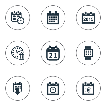 Vector Illustration Set Of Simple Plan Icons. Elements Date, Annual, Agenda And Other Synonyms Agenda, Sun And Deadline.
