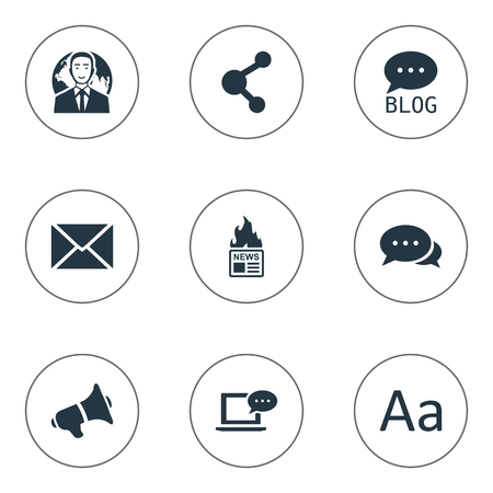 Vector Illustration Set Of Simple Newspaper Icons. Elements Laptop, Post, Share And Other Synonyms News, Speaker And Message.