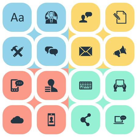 Vector illustratie Set van eenvoudige bloggen pictogrammen. Elementen Gossip, Man Overwegend, E-Letter en andere synoniemen Laptop, Toetsenbord en Sky.