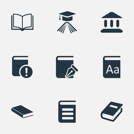 Vector Illustration Set Of Simple Knowledge Icons. Elements Graduation Hat, Notebook, Library And Other Synonyms Reading, Encyclopedia And Building.
