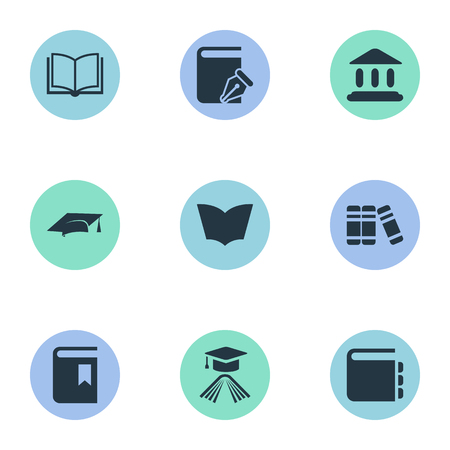 Vector Illustration Set Of Simple Books Icons. Elements Academic Cap, Blank Notebook, Sketchbook And Other Synonyms Hat, Textbook And Sketchbook.