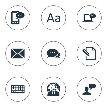 Vector Illustration Set Of Simple Blogging Icons. Elements Document, Laptop, Keypad And Other Synonyms Laptop, Missive And Negotiation.