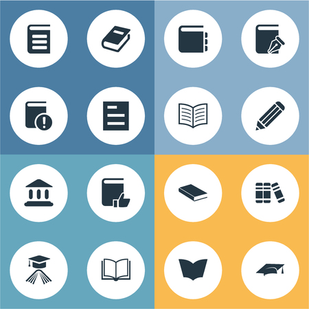 Vector Illustration Set Of Simple Books Icons. Elements Sketchbook, Graduation Hat, Library And Other Synonyms Notepad, Graduation And Hat.