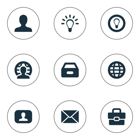 Vector Illustration Set Of Simple Business Icons. Elements Bulb, Suitcase, World And Other Synonyms Member, Interlocutor And User. Illustration