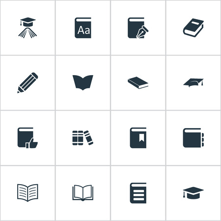 Vector Illustration Set Of Simple Education Icons. Elements Bookshelf, Graduation Hat, Academic Cap And Other Synonyms Write, Reading And Hat.