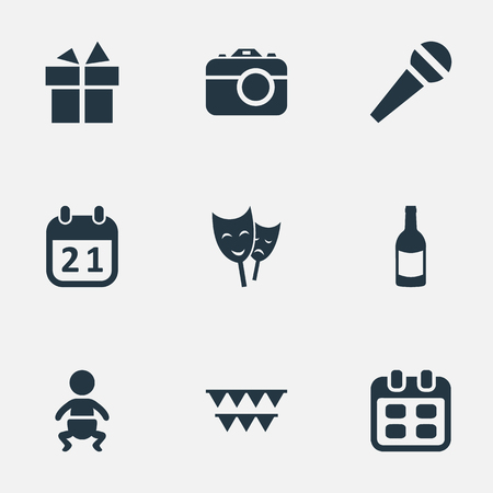 chronology: Vector Illustration Set Of Simple Birthday Icons. Elements Camera, Infant, Special Day And Other Synonyms Kid, Photo And Schedule.