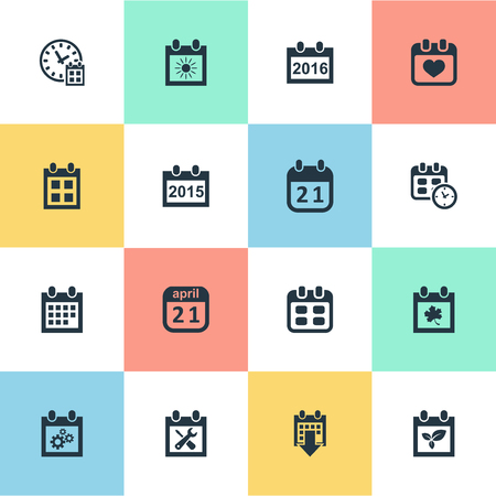 almanac: Vector Illustration Set Of Simple Calendar Icons. Elements Remembrance, Agenda, Deadline And Other Synonyms Almanac, Leaf And Summer.