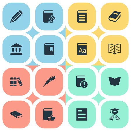 Vector Illustration Set Of Simple Education Icons. Elements Pen, Tasklist, Alphabet And Other Synonyms Dictionary, Notebook And Quill.