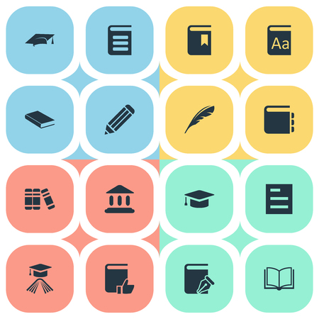 Vector Illustration Set Of Simple Knowledge Icons. Elements Journal, Bookshelf, Academic Cap And Other Synonyms Bookshelf, Hat And Quill. Illustration