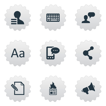 Vector Illustration Set Of Simple Blogging Icons. Elements Loudspeaker, Document, Share And Other Synonyms Network, Keyboard And E-Letter.