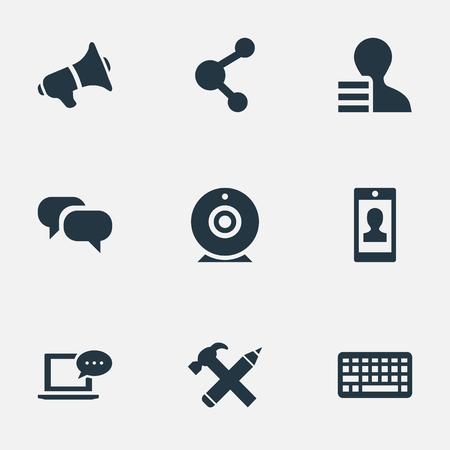 簡単なブログのアイコンのベクトル イラスト セット。要素キーパッド、ゴシップ、プロファイルや他の類義語のプロファイル、Web および修復しま  イラスト・ベクター素材
