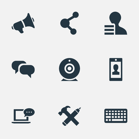 Vector Illustration Set Of Simple Blogging Icons. Elements Keypad, Gossip, Profile And Other Synonyms Profile, Web And Repair.