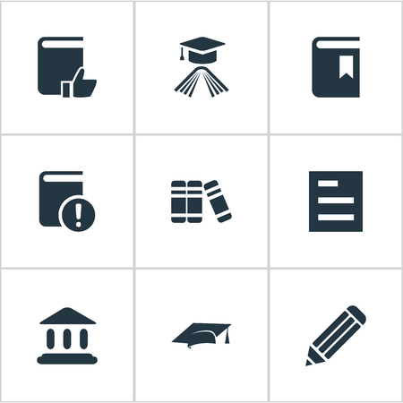 Vector Illustration Set Of Simple Education Icons. Elements Recommended Reading, Important Reading, Bookshelf And Other Synonyms Academy, Bookmark And Building. Ilustrace