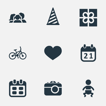 Vector Illustration Set Of Simple Holiday Icons. Elements Domestic, Soul, Days And Other Synonyms Present, Infant And Feelings. Illustration