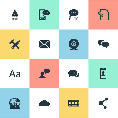 Vector Illustration Set Of Simple Newspaper Icons. Elements Document, Gossip, Repair And Other Synonyms Hot, Repair And Conversation.