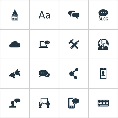 Vector Illustration Set Of Simple User Icons. Elements Cedilla, Repair, E-Letter And Other Synonyms Keyboard, Speaker And Network.