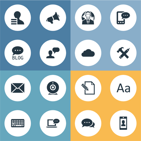 building site: Vector Illustration Set Of Simple User Icons. Elements Man Considering, Laptop, Gain And Other Synonyms Sky, Considering And Smartphone.