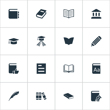 Vector Illustration Set Of Simple Books Icons. Elements Bookshelf, Book Page, Blank Notebook And Other Synonyms Bookshelf, Favored And Notebook.