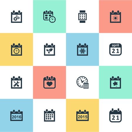 flotation: Vector Illustration Set Of Simple Calendar Icons. Elements 2016 Calendar, Summer Calendar, Date Block And Other Synonyms Autumn, Reminder And Gear.