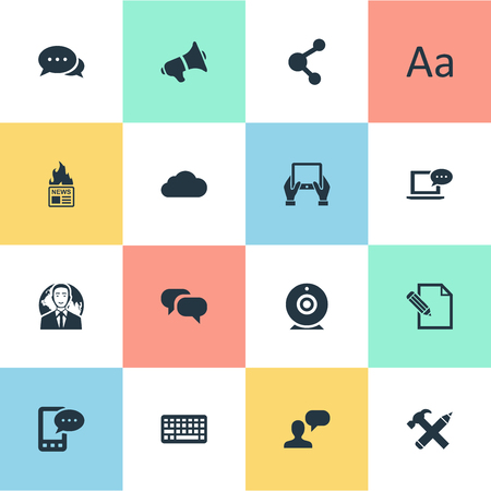 Vector Illustration Set Of Simple User Icons. Elements Argument, Keypad, Repair And Other Synonyms Conversation, Broadcast And News.